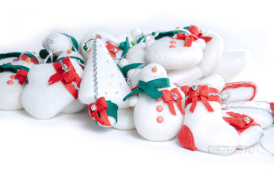 Набор елочных игрушек из войлока ручного валяния