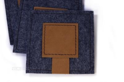 декоративная прошивка подставки для чашки из шерстяного фетра и натуральной кожи