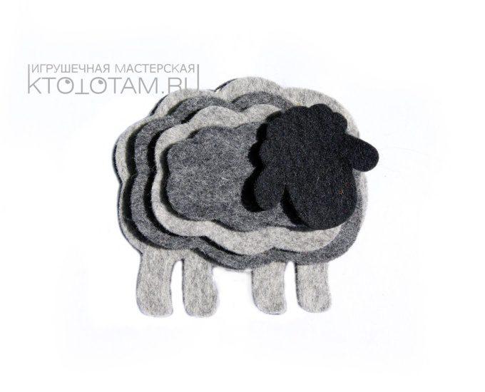 объемная игрушка овечка из листового войлока , сувенир из войлока к году овцы