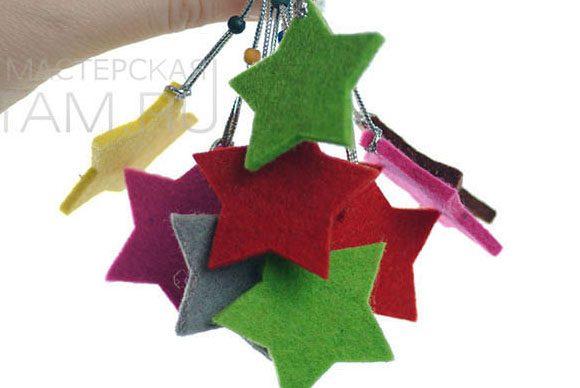 звездочка из войлока, сувенир, набор новогодних игрушек из фетра (натруальная шерсть 3мм) на заказ из войлока