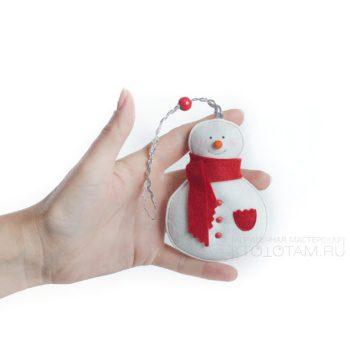 снеговик, варежка, валенок, набор елочных игрушек из фетра