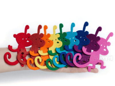 обезьянки , символ 2016 года обезьяны, игрушки из фетра, фетровая игрушка, фетровые подарки