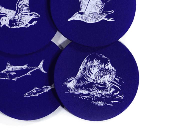 набор морская фауна, подставки для чашек, костеры, бирдекеры из фетра морские