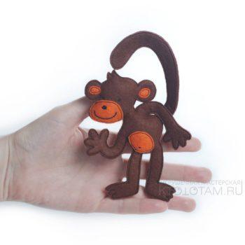 символ года обезьянка, новогодние сувениры 2016, обезьянка из фетра, новогодние игрушки ручной работы, новогодние подарки из войлока