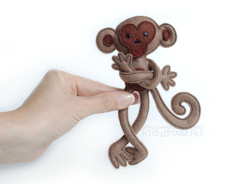 Елочные игрушки обезьянка из фетра своими руками