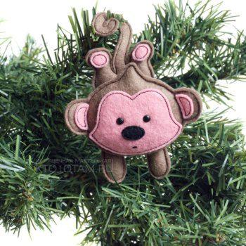 мягкая игрушка мартышка из фетра, фетровая обезьянка символ года, елочная игрушка из войлока, фетровая мартышка на заказ