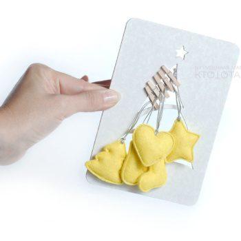 миниатюрные игрушки из фетра на прищепках, елочка, варежка, сердечко, варежка, валенок, звёздочка, новогодние игрушки из фетра, игрушки ручной работы