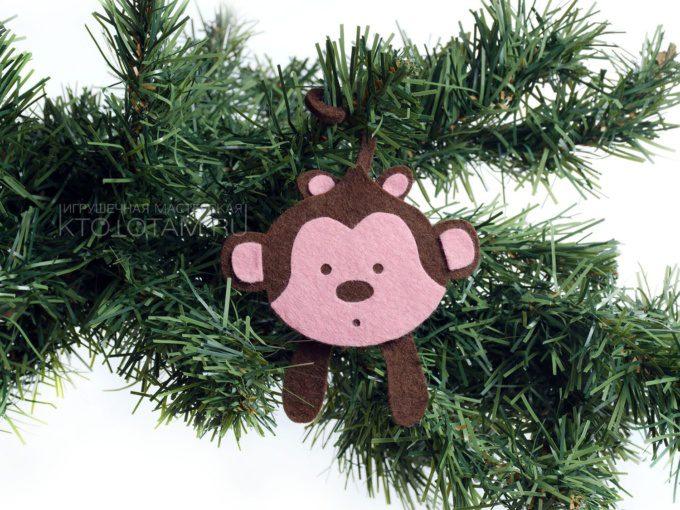 игрушка мартышка из фетра, фетровая обезьянка символ года, елочная игрушка из войлока, фетровая мартышка на заказ