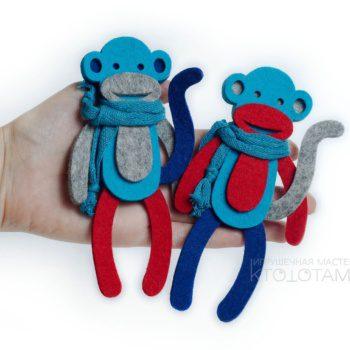 символ года обезьянка, новогодние сувениры 2016, обезьянка из фетра, новогодние игрушки из фетра ручной работы, игрушка обезьянка из фетра, фетровая обезьяна символ года