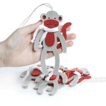 войлочная игрушка с логотипом, обезьянка сувенир из фетра, брендированные сувениры