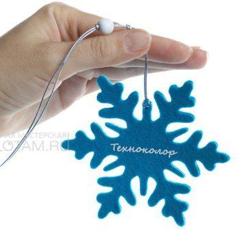 снежинка и войлока, фетровая снежинка с логотипом, сувениры из войлока