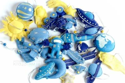 """набор елочных игрушек """"космические системы"""", космические сувениры, сувениры из фетра на тему космос, сувениры ручной работы"""