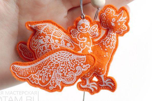 символ года петух елочная игрушка из фетра, авторский дизайн Феликс Данкевич, капсульная коллекция Славянские Сказки