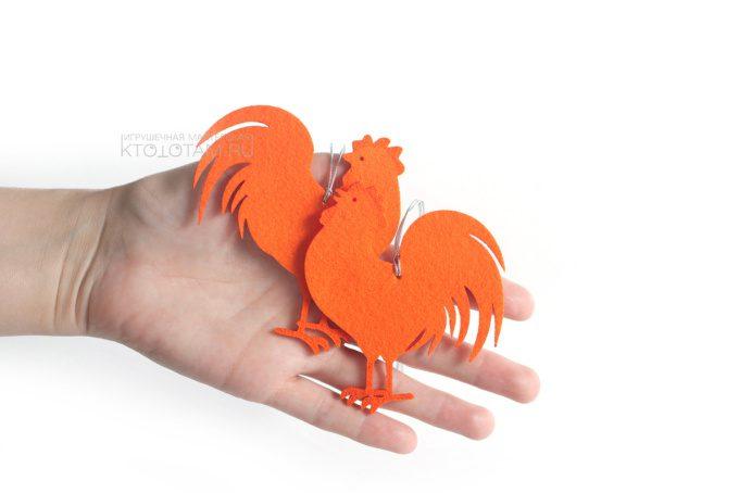 петух елочная игрушка силуэт из фетра, производство на заказ с логотипом в корпоративных цветах заказчика, коллекция символов года 2017 Петуха, Курицы