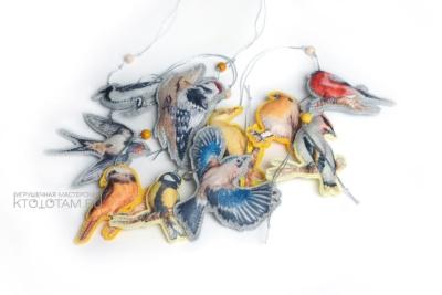 набор птицы новогодние ёлочные игрушки из фетра, эко сувениры из фетра, эко сувениры с логотипом из фетра, экологические сувениры с логотипом на заказ