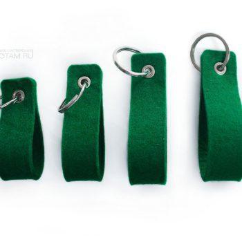 брелок петля с логотипом зелёный из войлока
