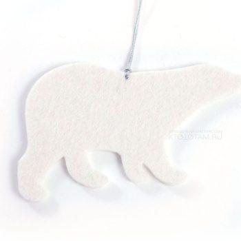 белый мишка из войлока, фетровый мишка, елочная игрушка медведь из листового войлока, фигурка медведь из фетра на заказ с логотипом