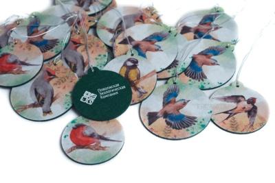 эко подарки из фетра елочная игрушка с рисунком акварельные птицы, фетровые эко ёлочные игрушки, персонаж на заказ из фетра с логотипом