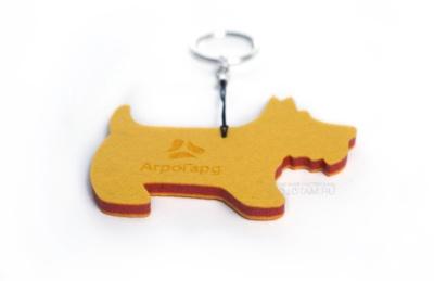 сувенир брелок собака с логотипом из фетра