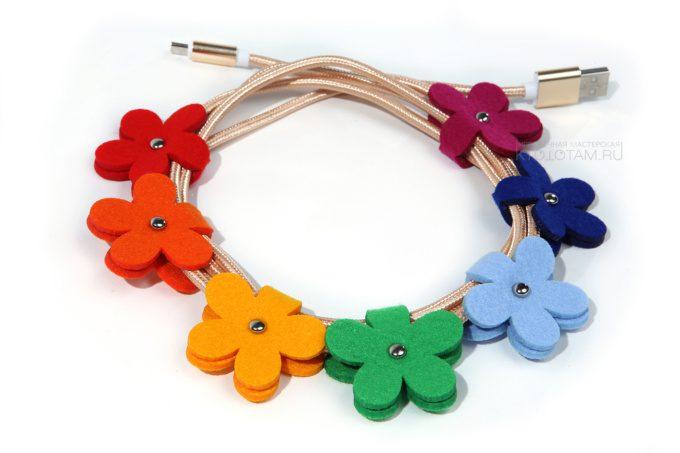 держатель для наушников в виде цветка, органайзер для проводов