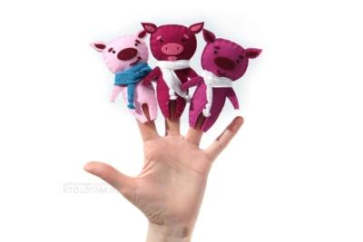 пальчиковая мягкая игрушка из фетра поросёнок в шарфике