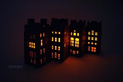 ночник корпоративный подарок из фетра в стилистике архитектуры амстердама, фетровый сувенир ночник