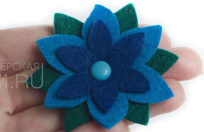 фетровый цветок, аксессуары из фетра, декор из фетра и войлока