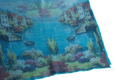 плед из натурального войлока ручного валяния с полноцветным морским принтом