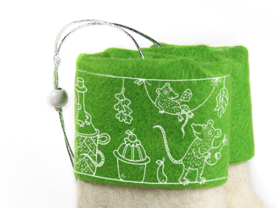 Валенки с принтом мышки символы года