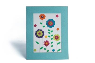 открытка с аппликациями цветы из фетра