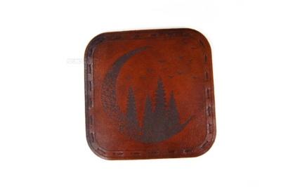 елки и луна подставка костер для стакана из натуральной кожи с гравировкой на заказ