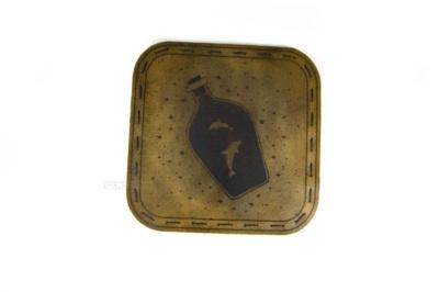 дельфины подставка костер для стакана из натуральной кожи с гравировкой на заказ