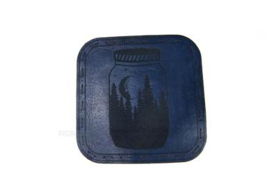 ночной лес в банке подставка костер для стакана из натуральной кожи с гравировкой на заказ