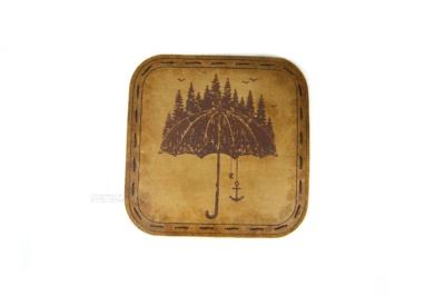 зонт подставка костер для стакана из натуральной кожи с гравировкой на заказ