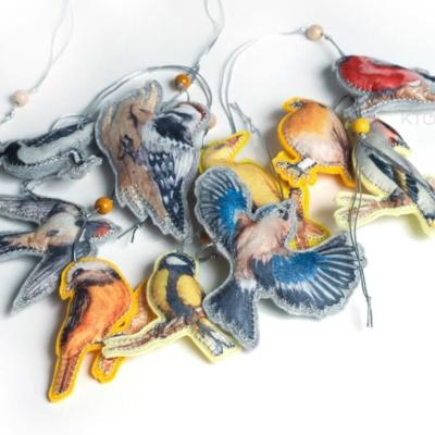ёлочные игрушки с полноцветом птицы из фетра