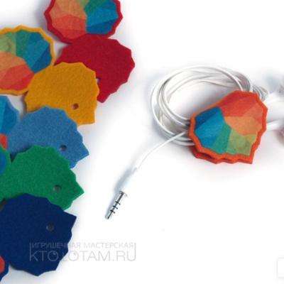 держатель для проводов из фетра с полноцветным логотипом