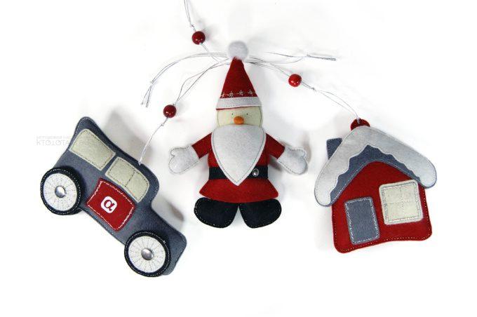 мягкие елочные игрушки дед мороз, домик и машинка из фетра с логотипом